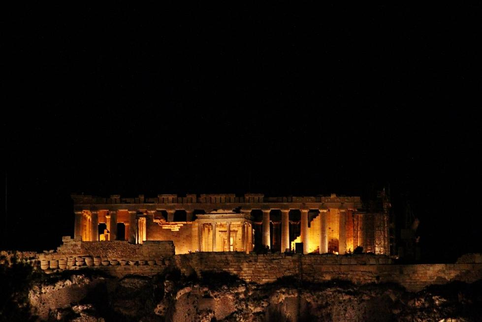 acropolis parthenon night